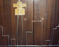 Jhb skyline in wire - table center piece